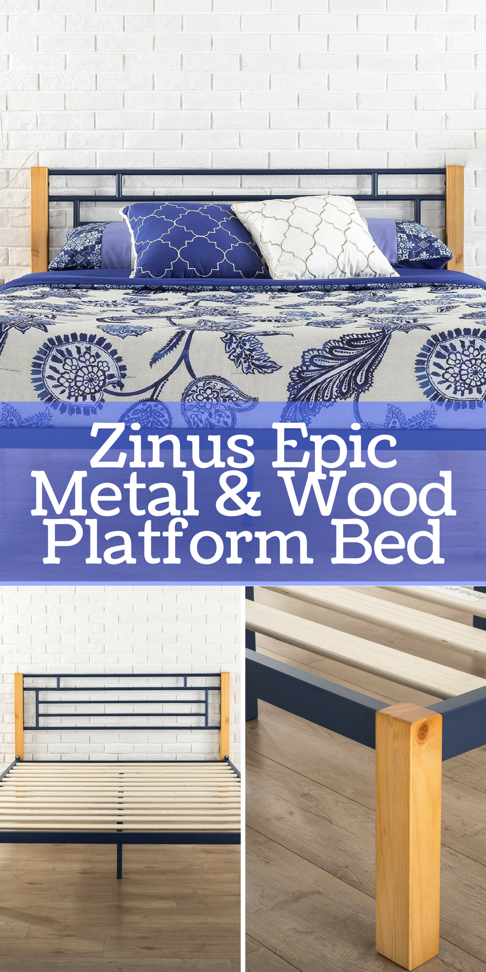 A Queen Sized Zinus Epic MEtal   Wood Platform Bed  5876bdc2a