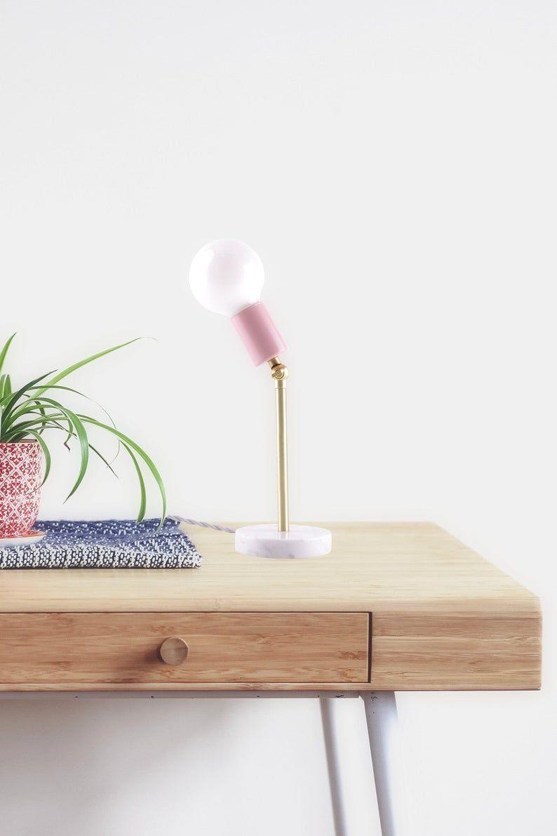 Gold And Blush Pink Modern Bedside Lamp Modern Lighting In 2020 Bedside Lamp Gold Bedside Lamps Modern Lighting