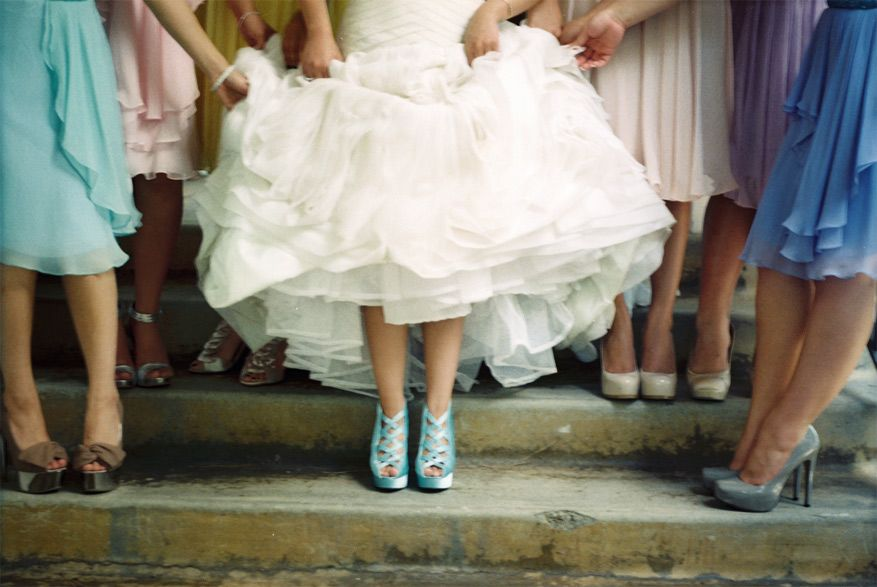 I Love Fun Colored Shoes Under A Wedding Dress