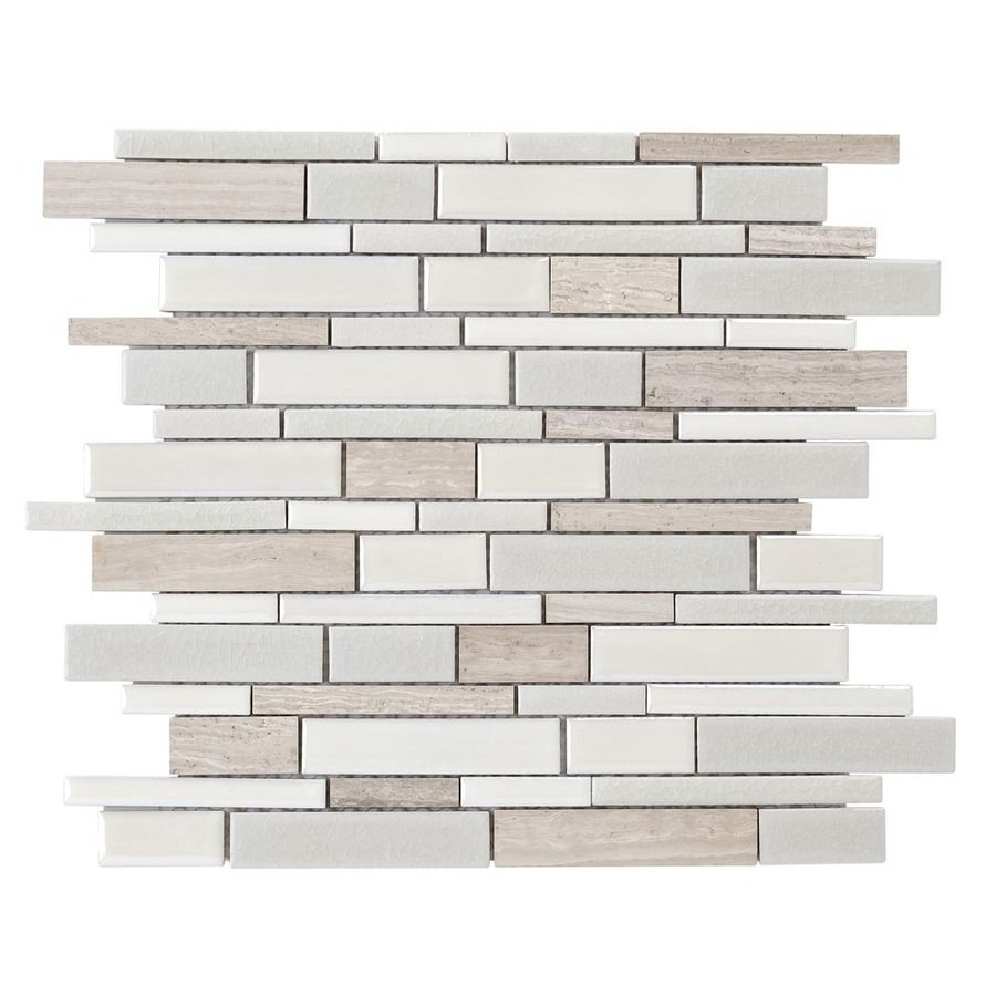 Elida Ceramica Crackled Linear Silk Mosaic Porcelain Marble Tile Common 12 In