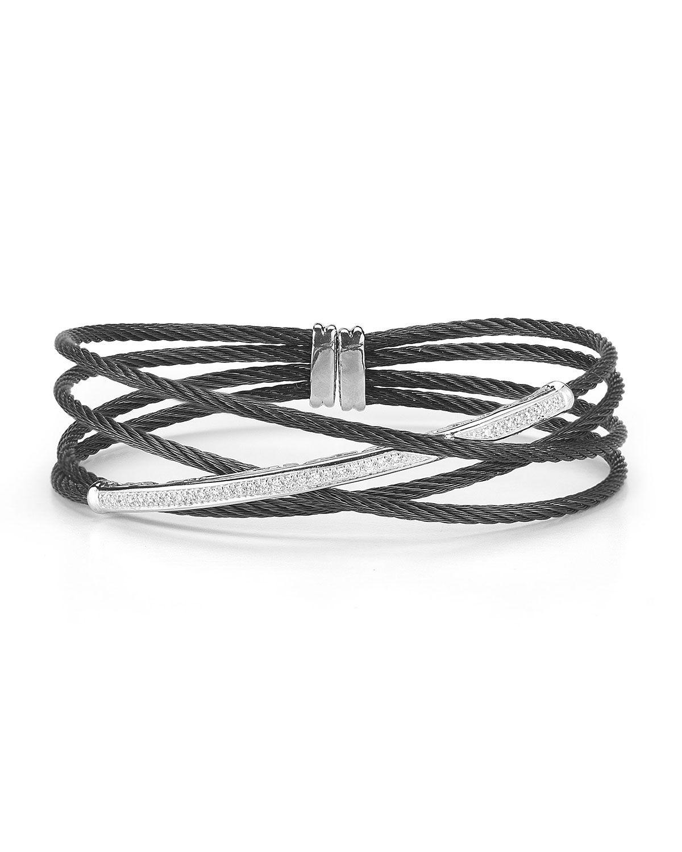 ALOR Multi-Row Micro-Cable Pave Diamond Bar X Bracelet, Black, Women's, 18KT WG