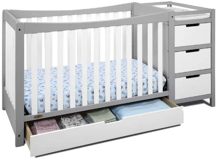 Convertible Crib With Changing Table Attached Lanzhome Com In 2020 Convertible Crib Cribs Baby Cribs Convertible