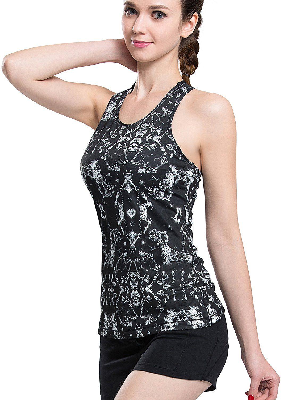 e39eb3e1325d56 Campeak Women s Mesh Outdoor Running Vest Yoga Gym Fitness Tank Top Built-in  Shelf Bra