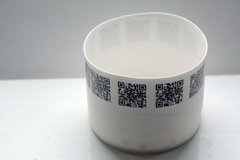 Round vessel. Stoneware English fine bone china cylindrical shape bowl with QR codes