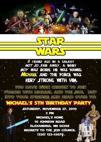Custom star wars birthday invitation unlimited quantity party star wars invitation wording stopboris Gallery