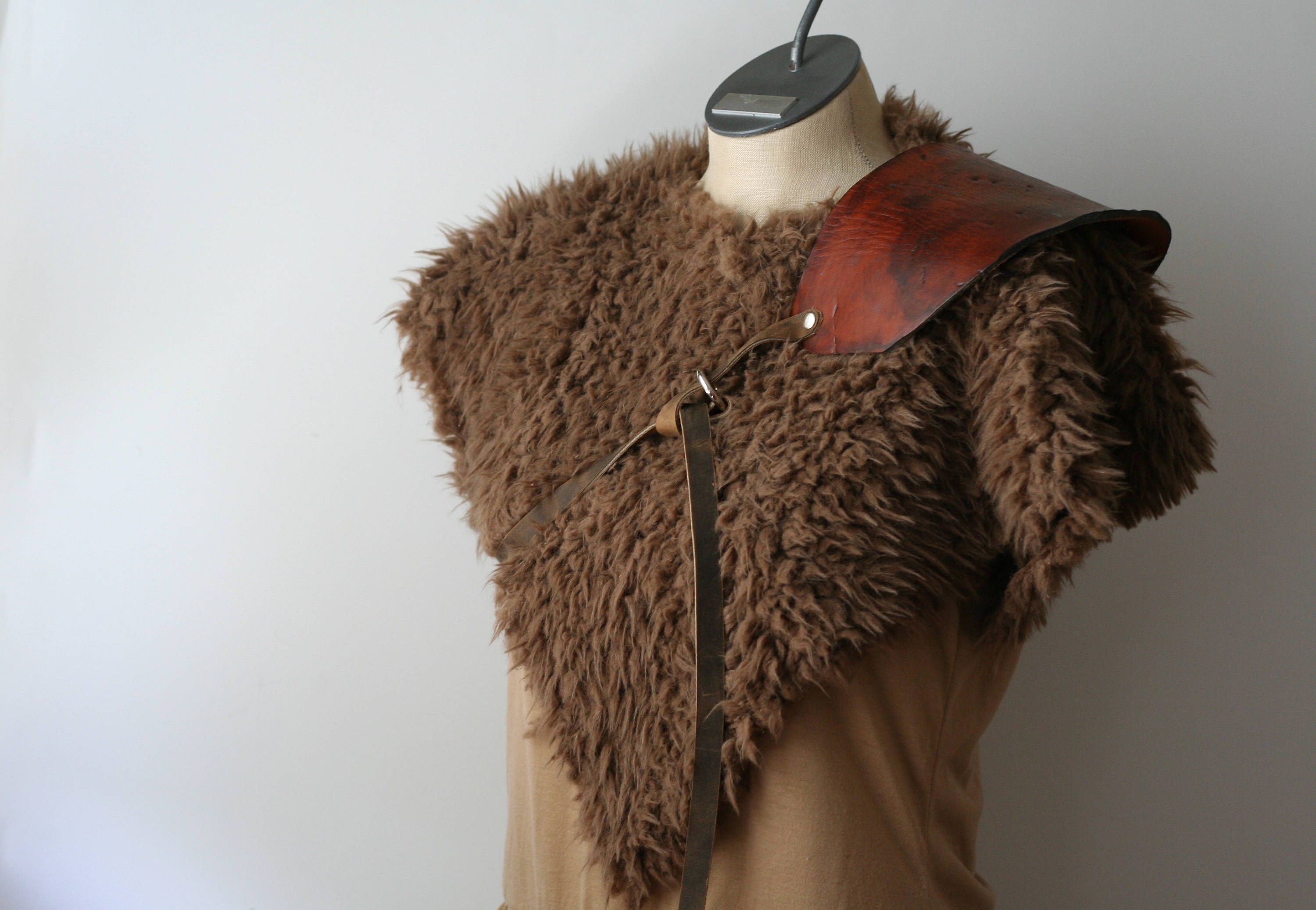 Primitive Leather Armor and Fur Collar, Shoulder Armor brown
