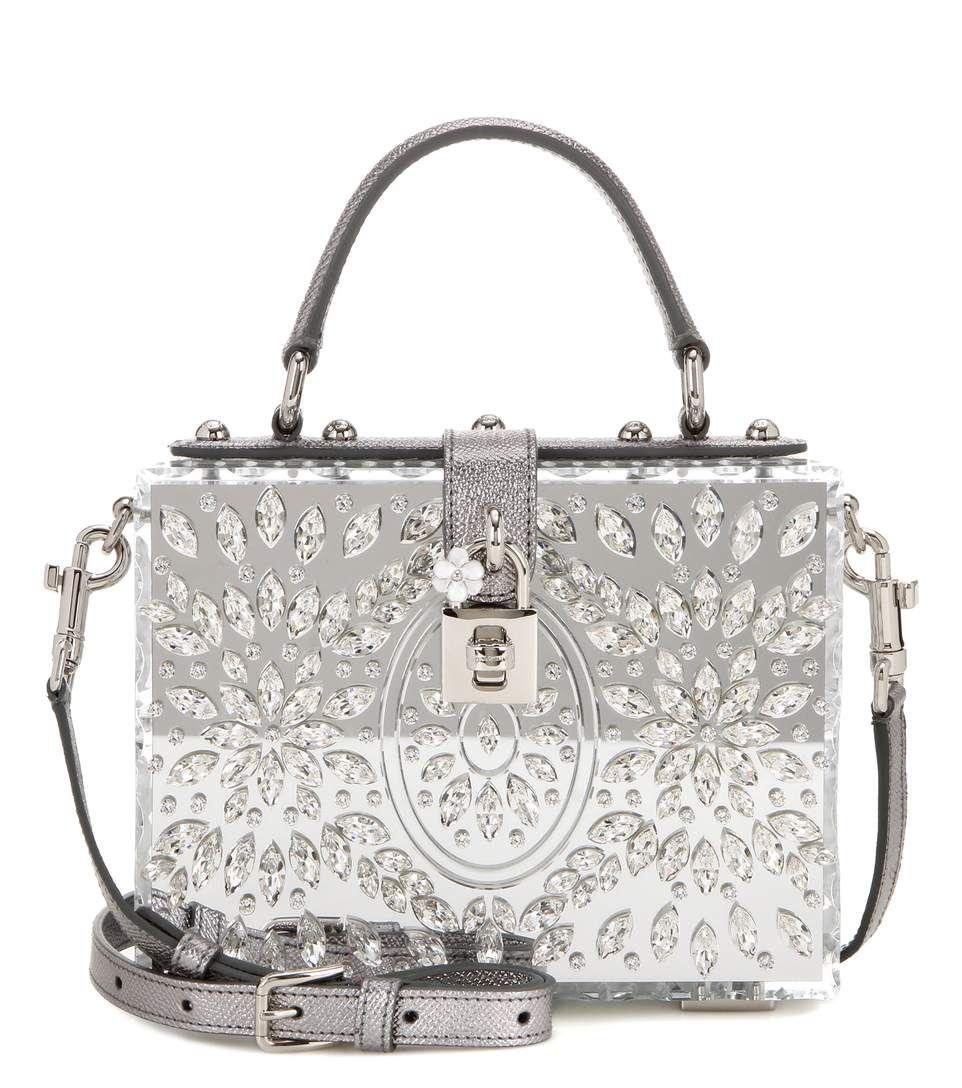 2ef30e8292f2 DOLCE   GABBANA Dolce Box Shoulder Bag.  dolcegabbana  bags  shoulder bags   leather  metallic  crystal