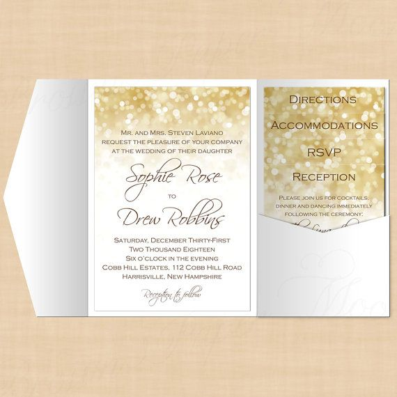 White Gold Sparkles Pocket Invitation, RSVP, Inserts and Belly - microsoft word templates invitations