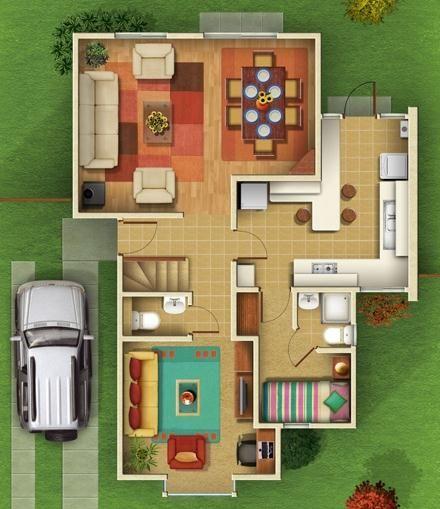 Distribuci n de casas de campo planos pinterest for Distribucion de casas de dos pisos