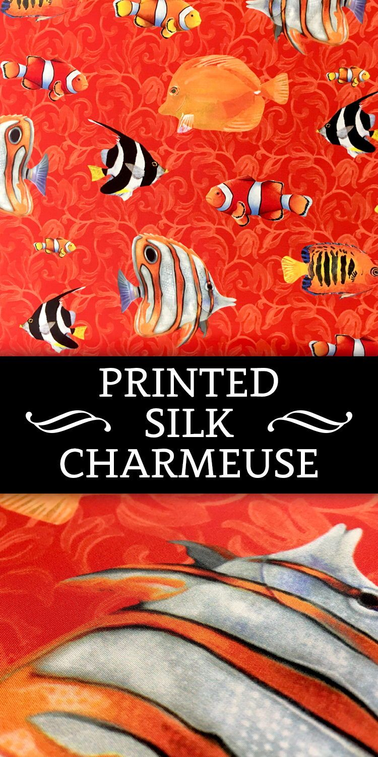 Printed Silk Charmeuse with Tropical Fish Pattern (100% Silk ...