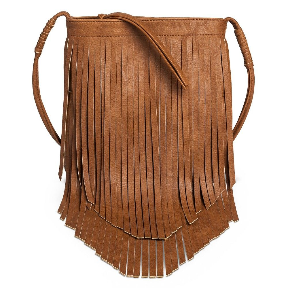 Women s Fringe Crossbody Faux Leather Handbag Cognac (Red) - Mossimo Supply  Co. 110a371633e9d