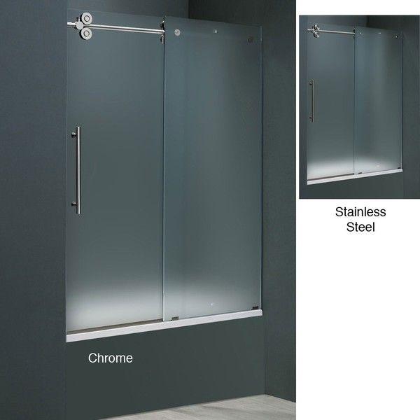 vigo frameless frosted glass sliding tub door overstock shopping big discounts on vigo shower doors
