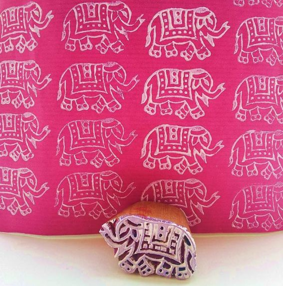 Indian gift wrapping ideas - An elephant block print.
