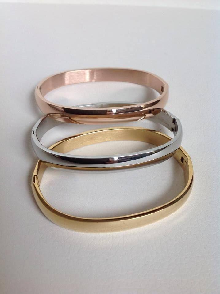 b0691f507afd trio de brazaletes lisos en acero 316 gold