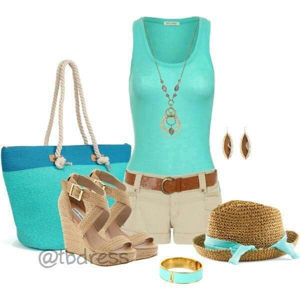 Teal summer outfit.