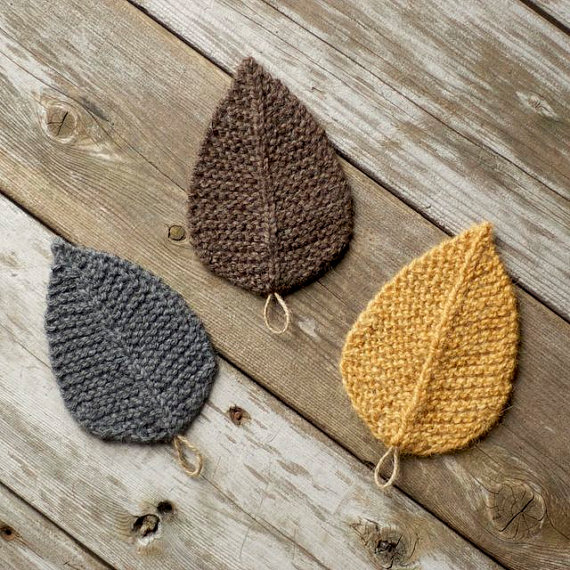 3b3f81dbe92 Knitting Pattern - Autumn Leaves - Leaf - Knit Leaves - Knitted ...