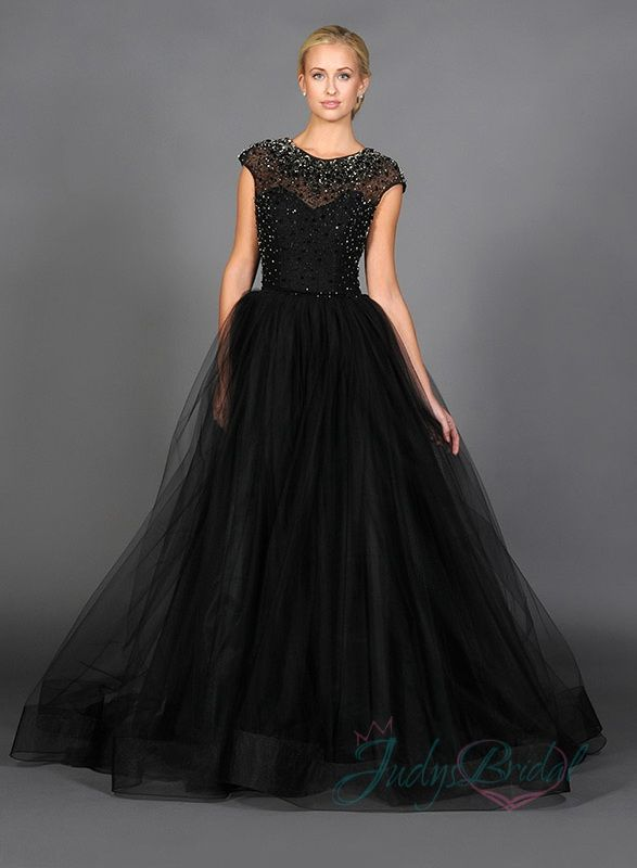 sparkles beaded cap sleeves black tulle ball gown evening dress ...