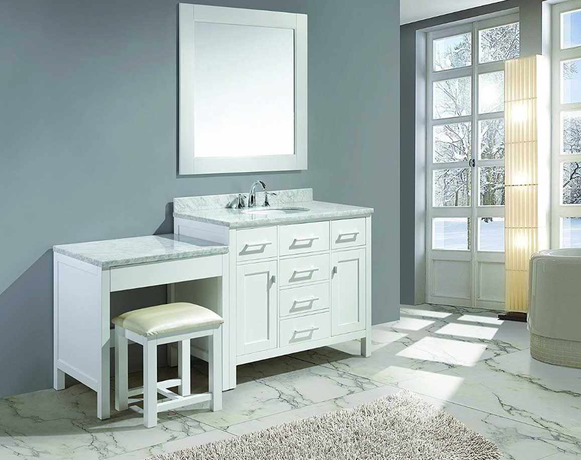 Image Result For Single Vanity With Makeup Area Bathroom With Makeup Vanity Single Sink Vanity Bathroom Vanity [ 917 x 1158 Pixel ]
