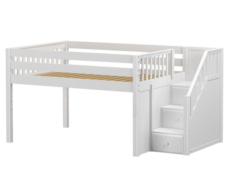 Best Maxtrix Perfect Low White Loft Bed With Stairs Shop Loft 640 x 480