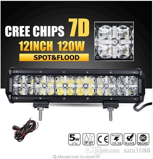 Factory Price 7d 120w 12inch Led Work Light Bar Cree Chips Led Bar Offroad Combo Beam Truck Suv Atv 4x4 4wd Dri Bar Lighting Led Work Light Off Road Led Lights