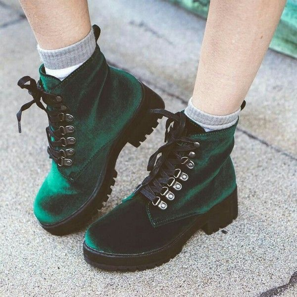 Emerald Green Velvet Boots Round Toe Lace up Short Boots   - STYLISH SHOES. -