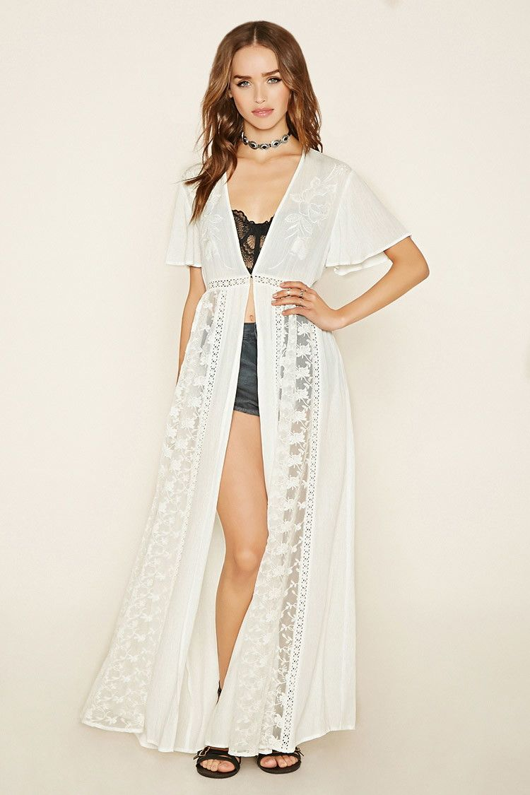 Forever21 - Embroidered Longline Cardigan - I would totally use ...