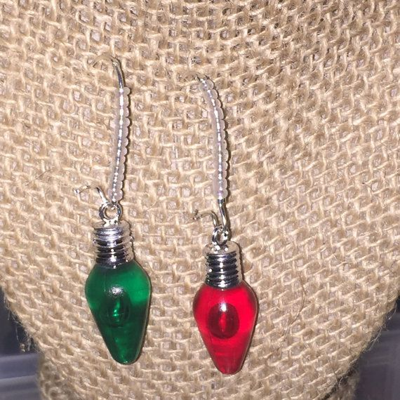 green and red christmas light bulbs with mini crystal beads on a metal