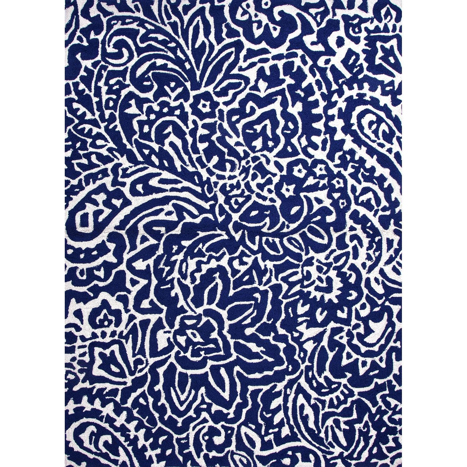 Jaipur Rugs Barcelona Flores 5 X 7 6 Indoor Outdoor Rug Blue Ivory Rug100203 Paisley Rug Floral Area Rugs Blue Area Rugs
