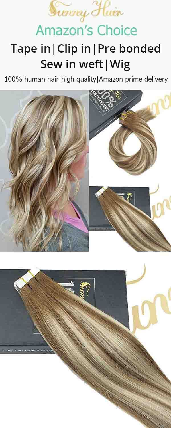 Sunny Tape In Hair Extensions Human Hair Balayage Color Brown 6