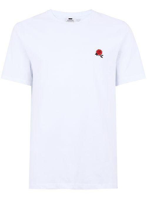 b886282b White Rose Embroidery T-Shirt | men's fashion | Shirts, Rose ...