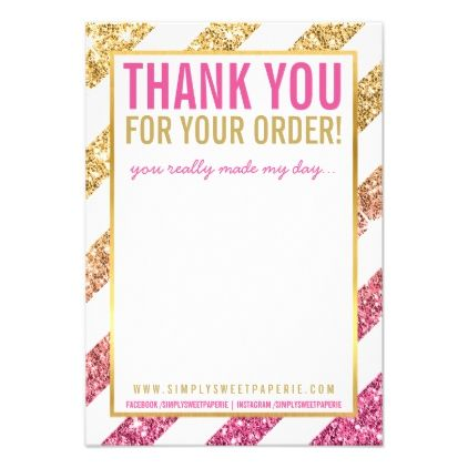 BUSINESS THANK YOU NOTE stripe gold pink glitter Card Glitter - business thank you letter