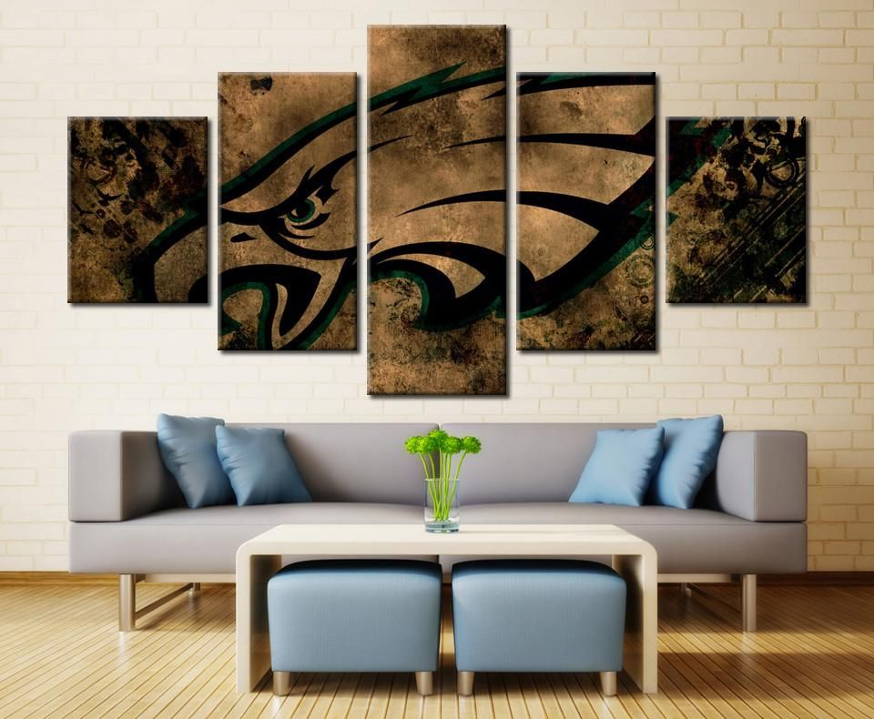 Philadelphia Eagles Nfl Football 5 Panel Canvas Wall Art Home