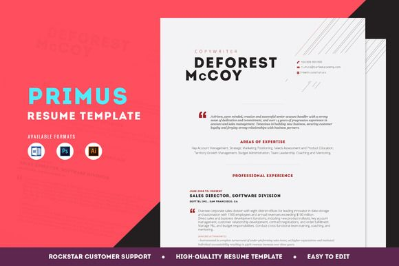 Resume Template - Primus by Resume Templates on Creative Market