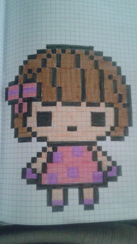 Petite Fille Dessin Pixel Facile Pixel Art Et Dessin Pixel