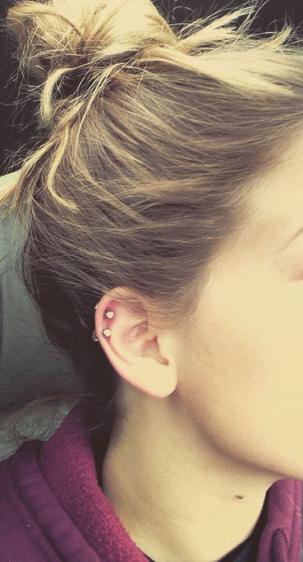 Simple and cute double cartilage piercing | Stylin ...