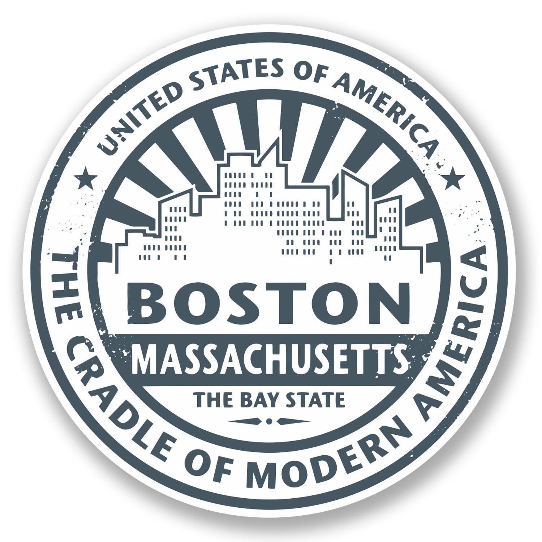 2 x Boston Massachusetts Vinyl Sticker Laptop Travel Luggage Car #5733