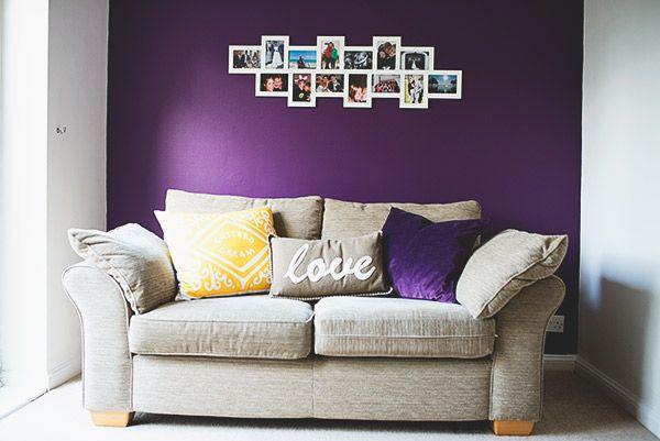 Mustard And Purple Living Room. NikkiMcWilliams Biscuit Cushion. #interiors  #interiorinspiration #livingroom