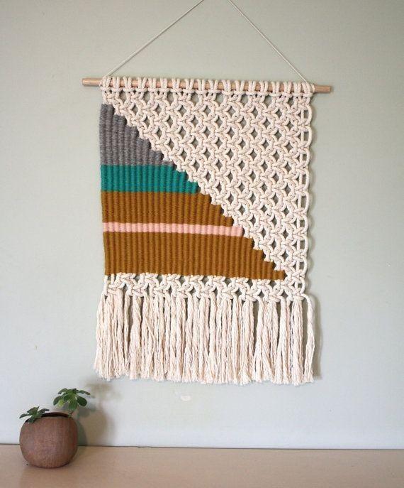 Art Woven Macrame Wall Hanging with big triangle - wall decor, crochet wall  hanging