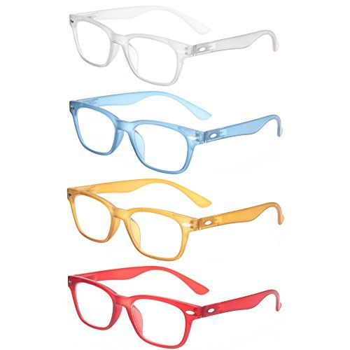 5ea9a76a9ddd Kerecsen Reading Glasses 4 Pack Fashion Men And Women Readers Spring Hinge  Glasses for Reading