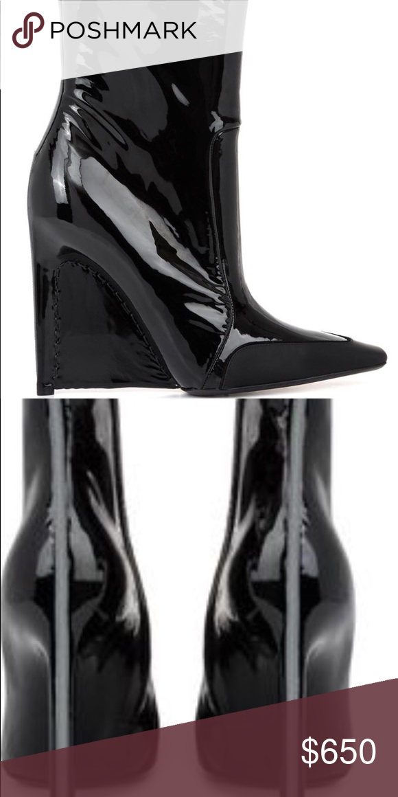 black patent wedge ankle boots