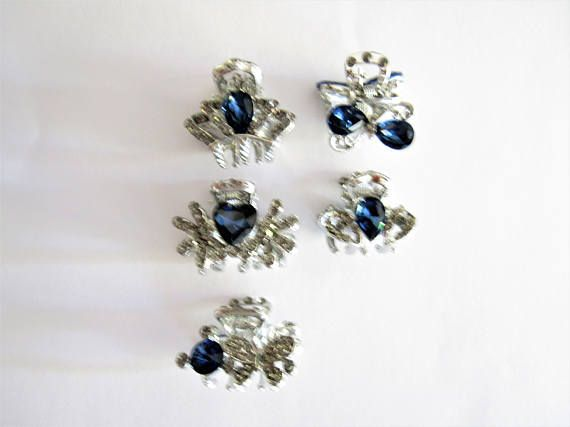 small mini silver metal blue bowbutterfly flower crystal