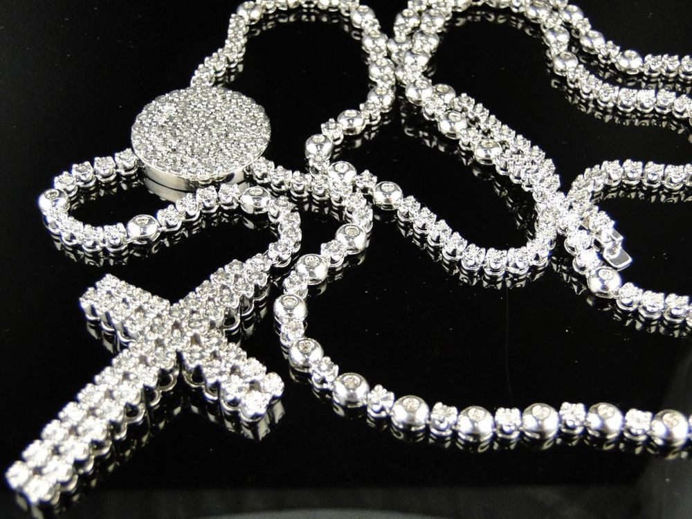 Mens White Gold Finish Rosary Diamond Chain Necklace 3c Diamond