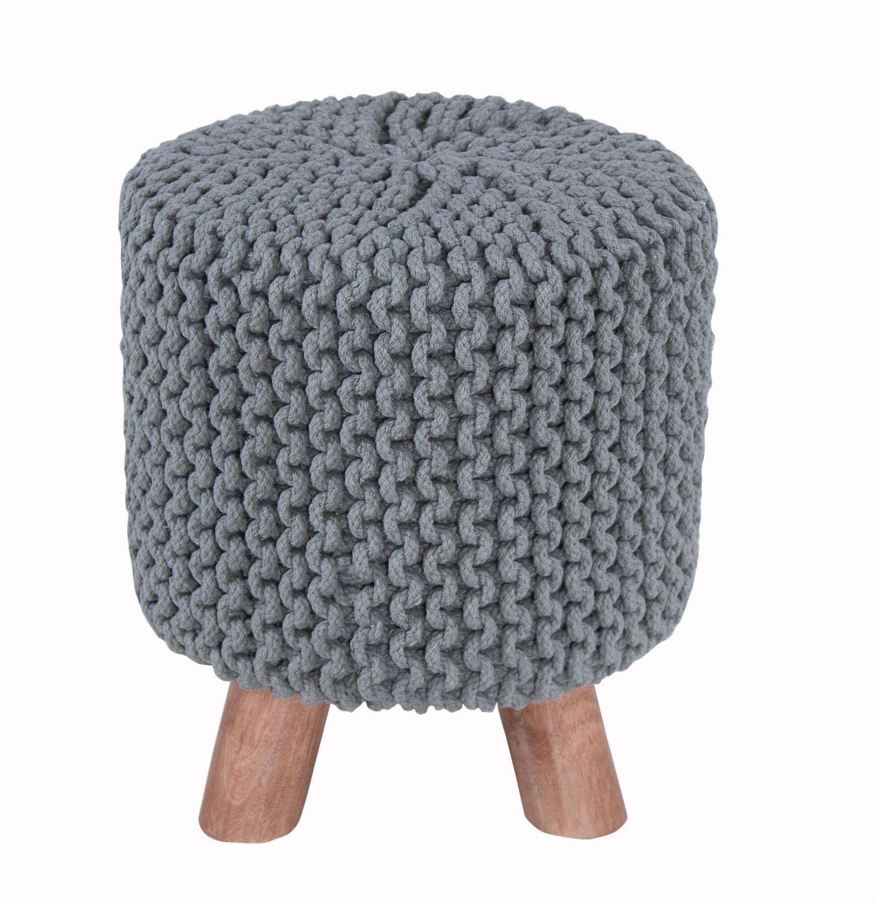 : Homescapes Moderner Strick Sitzhocker grau