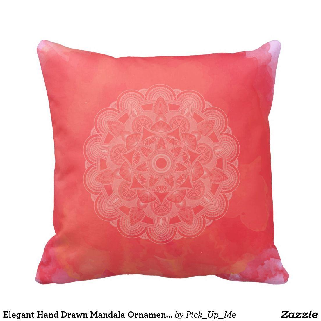 Elegant Hand Drawn Mandala Ornament Throw Pillows