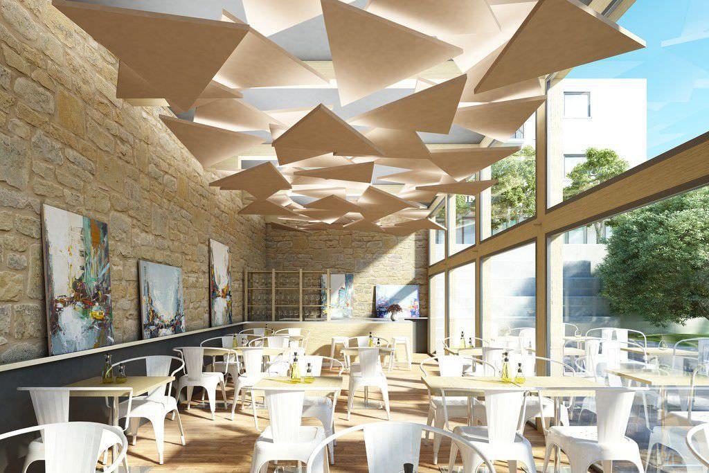 Faux plafond acoustique en inox en lot rockfon - Faux plafond suspendu lumineux ...