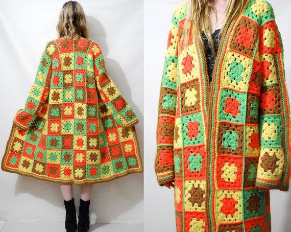 Crochet Jacket 70s Granny Square Knit Sweater Cardigan Coat Bright