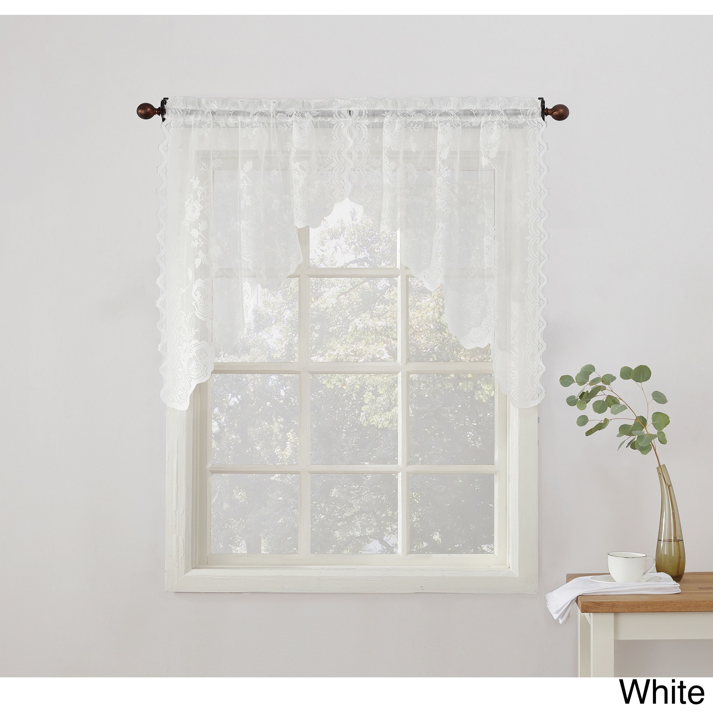 No. 918 Alison Sheer Lace Kitchen Swag Curtain Pair (Blue) (100 ...