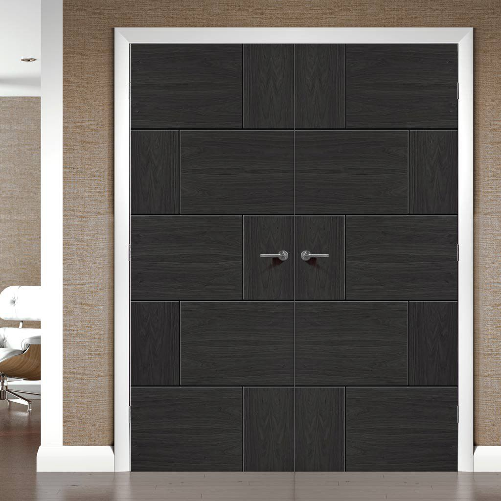Pre-finished Ravenna Oak Flush Door Pair - Choose Your Colour - Lifestyle Image.    #contemporarydoor #blackdoor