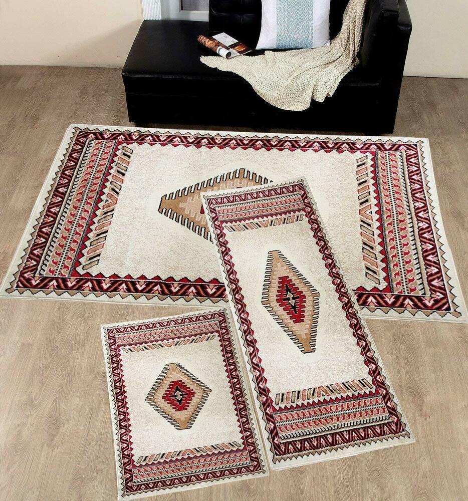 Cream Burgundy Southwest Aztec 3 Pc Area Rug Runner Set Native 2 X3 2 X6 5 X8 Fmpcarpets Sowthwesternnativeamerican Area Rugs Area Rug Sets Rugs 3 piece area rug sets