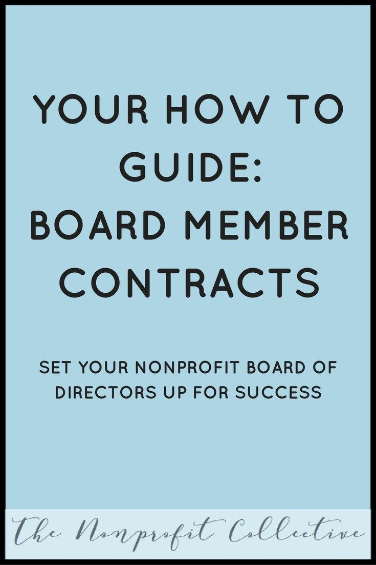 How to write nonprofit board member contracts nonprofit